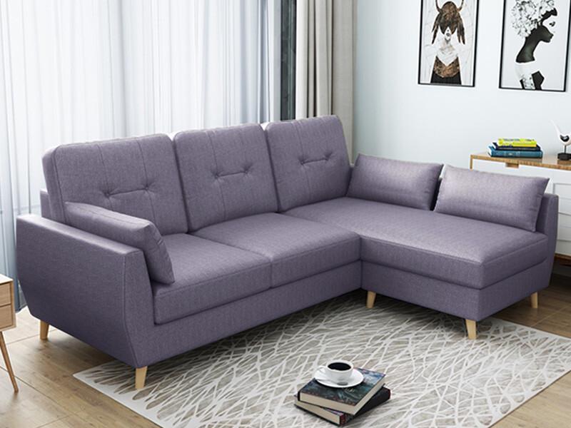 歐風小L型貓抓皮沙發/芋頭紫